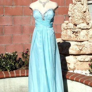 Strapless Long Dress Crystals Evening Formal 3 XL